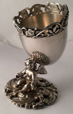ANTIQUE 19th CENTURY COIN SILVER FIGURAL CHERUB CUPID EGG CUP HOLDER STERLING