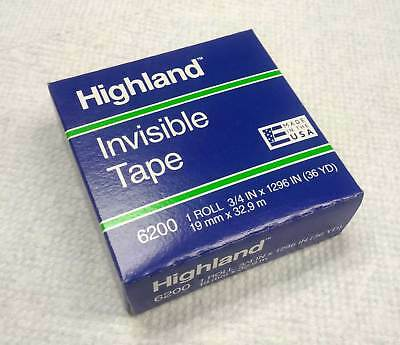 Highland 6200 Invisible Tape 0.75 Inch X 36 Yards Matte Finish - New - 1 Piece