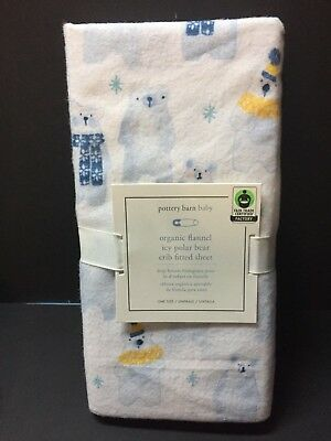 Pottery Barn Kids FLANNEL Winter ICY POLAR BEAR Crib Baby Toddler SHEET Bed NEW