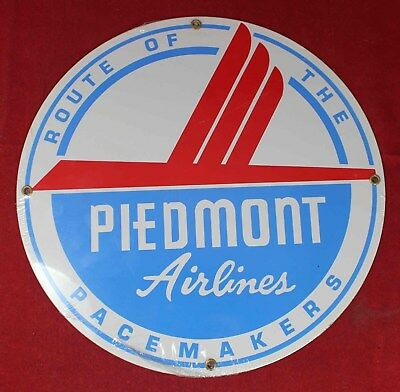 """Piedmont Airlines """"Route of the Pacemaker"""" Porcelain 11"""" Round Sign - Aviation"""