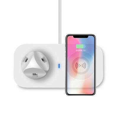 3in1 USB Qi Wireless Charger Charging Dock Station Pad Mat For iPhone X 8 8 Plus