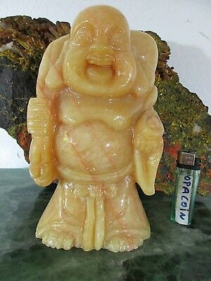 alter Dicker HAPPY BUDDHA echte Gold Honey*Jade Edelstein Handarbeit China ~1960