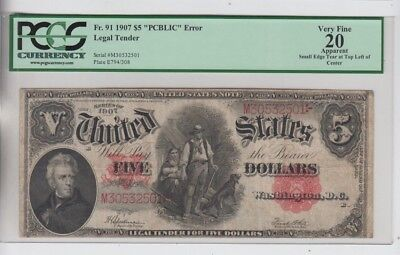Legal Tender $5 1907 Wood Chopper  PCGS Graded vf 20 Apparent READ comments