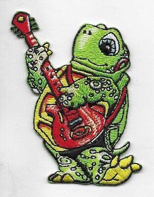 "Turtle Playing A Guitar Embroidered Patch 60's Peace Grateful Dead Like 2"" X 3"""