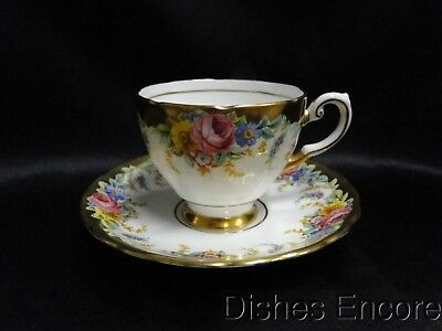"""Tuscan Garland, Multicolored Flowers, Wide Gold Trim,: Cup & Saucer Set 2 1/2"""""""