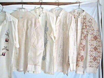 5 Ivory Filipino Wedding Dress Shirts Sheer Embroidered Tropical Philippines Sm