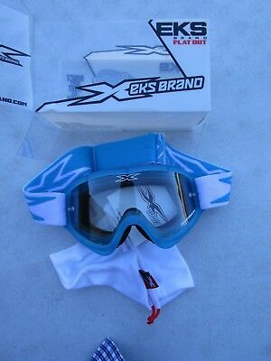 EKS BRAND 067-10340 FLAT OUT Goggle w/clear lens, frame liquid cyan blue