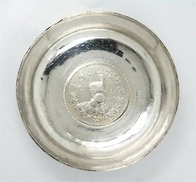 Vintage Hallmarked Middle Eastern Lion Coin Ornate Engraved Silver Dish 3+ozt