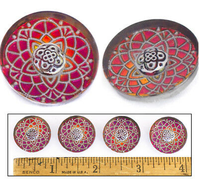 22mm Vintage Czech Glass Pink Ab Lace Rose Window Mandala Mirror Bk Ons 4pc