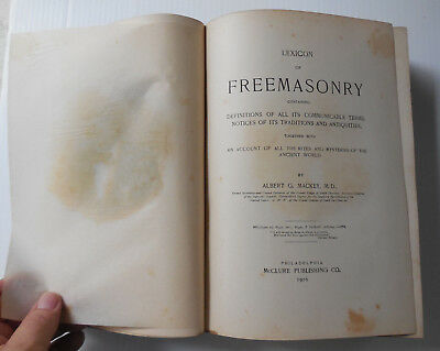 Antique 1916 Lexicon Of Freemasonry Book by Albert Mackey MD
