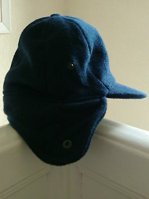 retro vintage childrens winter navy trapper hat lovely quality 52cm 1 - 3 yrs