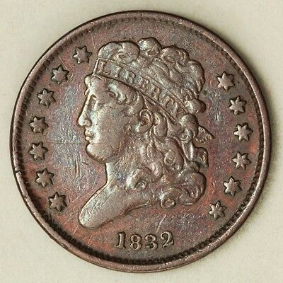 1832 U.S. Mint 1/2C Classic Head Half Cent in XF to AU Condition