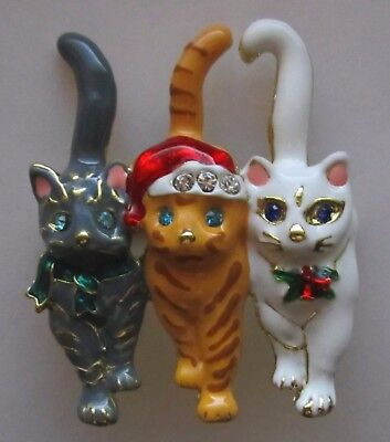 Meow  3 Christmas Cats Brooch / Pin Or Pendant  With Rhinestones & Enamel