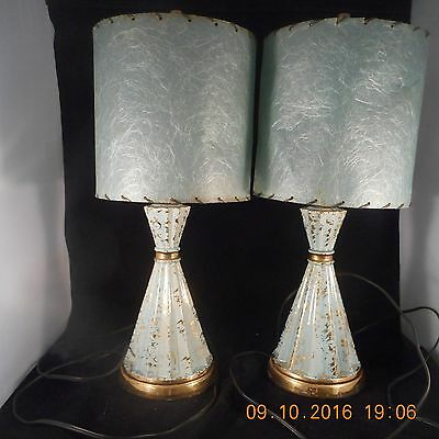 Pair of Mid Century Lamp - Fiberglass Shade - Turquoise Gold