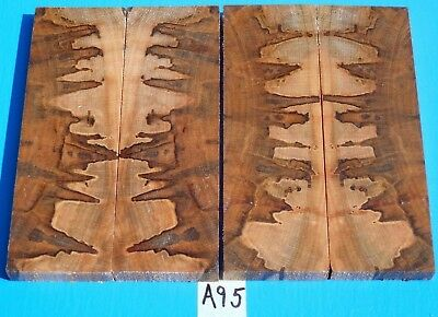2 Pairs Cross Cut Ambrosia Maple Knife Scales~Exotic Wood~Exotic Lumber