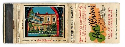 PAT O'BRIEN'S (CHARLIE CANTRELL) in NEW ORLEANS - Vintage Used Matchbook