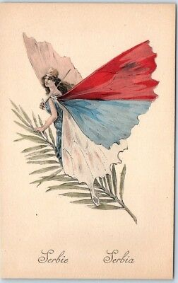 "c1910s SERBIA ""Butterfly Girl"" Postcard Pretty Lady HAND-COLORED - UNUSED"