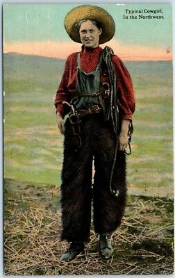 """1910s  COWGIRL Western Postcard """"Typical Cowgirl, in the Northwest"""" Bloom Bros."""