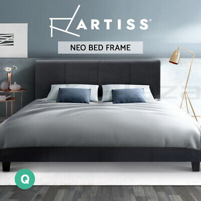 QUEEN Size Bed Frame NEO Linen Fabric Headboard Wooden Mattress Base Charcoal