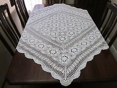 Vintage Hand Worked White Square Crochet Lace Tablecloth