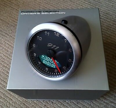 Rare Oem Porsche Design 911 Table Clock Lcd Alarm (Engine Sounds) Desktop Nib!