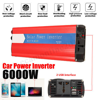 6000W Car Solar Power Inverter DC 12/24V To AC 110/220V USB Sine Wave Converter