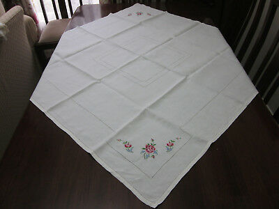 So Finely Hand Embroidered Pink Roses And Forget Me Nots Pure Linen Tablecloth