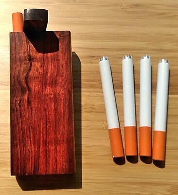 Premium Wood Dugout Set - 1 Rosewood Box +5 Spiked One Hitter Bats, Push-n-Pack