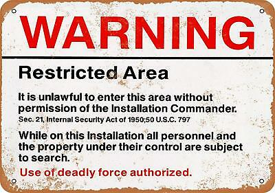 "Warning Restricted Military Area 51 Vintage Rustic Retro Metal Sign 9"" x 12"""