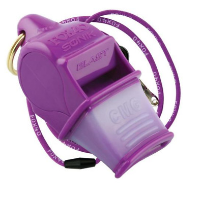 Fox 40 Sonik Blast CMG 2-Chamber Pealess Whistle with Lanyard, Purple