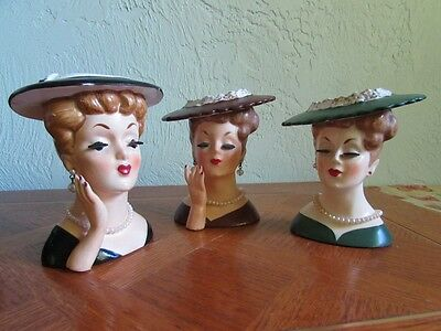 Lot of 3 Vintage Napco 1958 Lady in Pearls Head Vases Black, Green, Brown