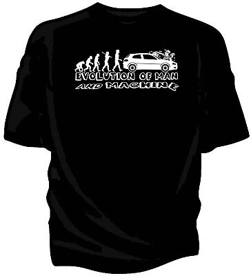 'Evolution of Man - Carwash'  car humour t-shirt. Classic Alfa Romeo 147