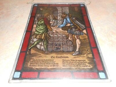 Vintage German Traders Stained Leaded Glass Window Hanging