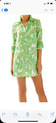 3fd3fe828ba Lilly Pulitzer Jupiter Island Cover-Up Resort White Seeing Pink Elephants  Size S