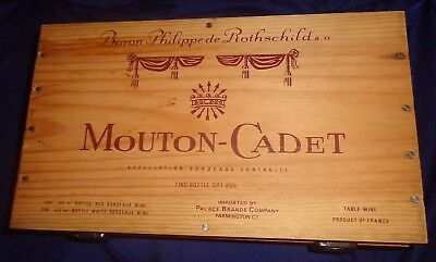 RP2589 Vtg Baron Philippede Rothschild s.a. Mouton-Cadet 2 Bottle Wood Box Case