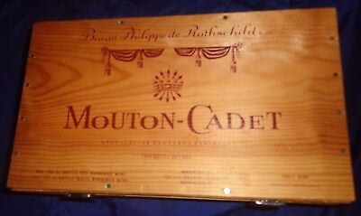 RP2588 Vtg Baron Philippede Rothschild s.a. Mouton-Cadet 2 Bottle Wood Box Case