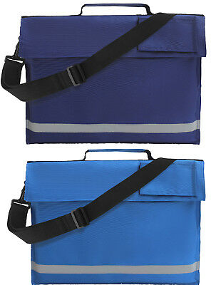 Blue Euro A4 Book Bag With Strap Kids Junior School Conference Reflective Strip