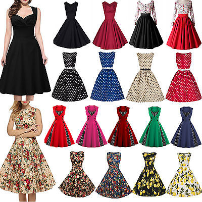 Womens 50s 60s Vintage Rockabilly Pinup Swing Floral Cocktail Skater Midi Dress