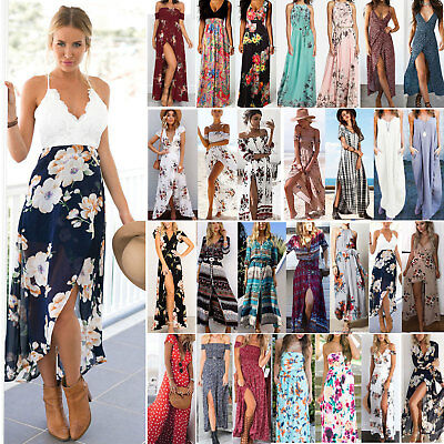 Women Maxi Boho Floral Summer Beach Long Dress Skirt High Slit Cocktail Party