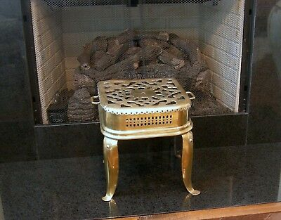 ANTIQUE ENGLISH BRASS & IRON FIREPLACE TRIVET OR FOOTMAN'S STOOL ca 1880
