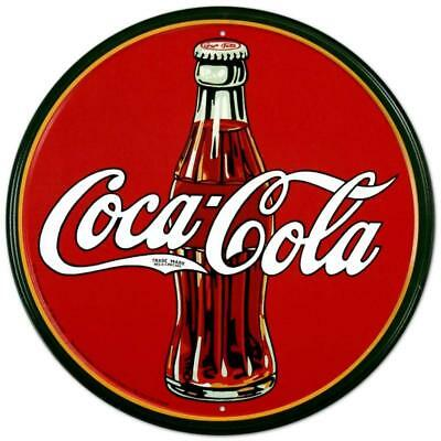 Coca-Cola 30's Bottle Vintage Retro Round Tin Metal Sign 12 x 12 inch