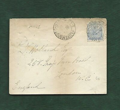 Luxembourg 1885 35c (damaged) used on cover to England station cancel