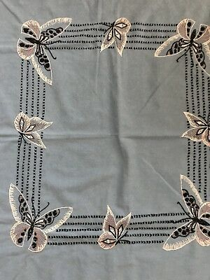 Vintage Linen Embroidered Luncheon Tablecloth Blue Butterfly 2 Napkins Beautiful