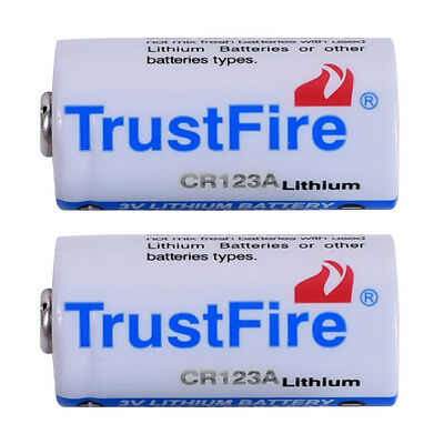 2pcs CR123A 16340 Lithium Li-ion Batteries Trustfire 3V Battery 1400mAh From USA