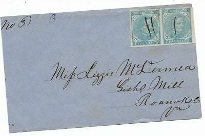 CSA Cover Mailed to miss Lizzie McDermea at Gishe's Mill, Va, H Pair CS #6 Stamp
