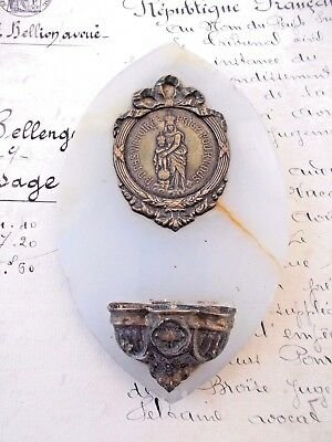 Antique French  Holy Water Font Stoop Stunning Religious Medal Napoleon Empire