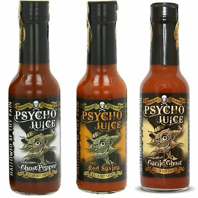 Psycho Juice Gift Set Of 3 Extreme Red Savina & Roasted Garlic Hot Chilli Sauce