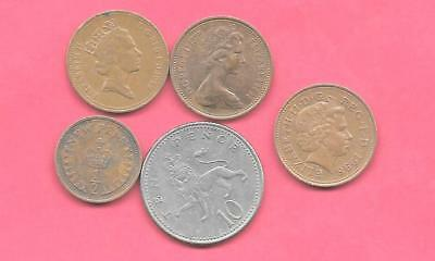 Great Britain Gb Uk 5 Diff Different 1973-1998 Old Coin Lot Collection Set