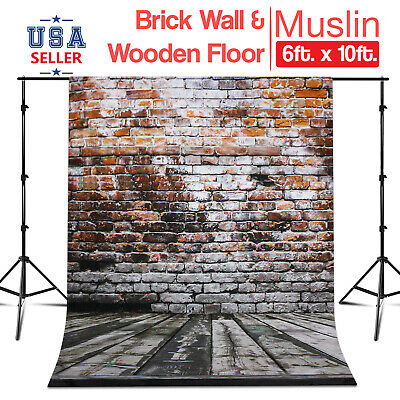 6 ft x 10 ft Photo Studio Brick Wall & Wooden Floor Backdrop Wrinkle Resistant