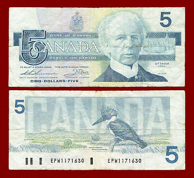 1986 (Bank Of Canada) Five Dollars $5 Note 1630
